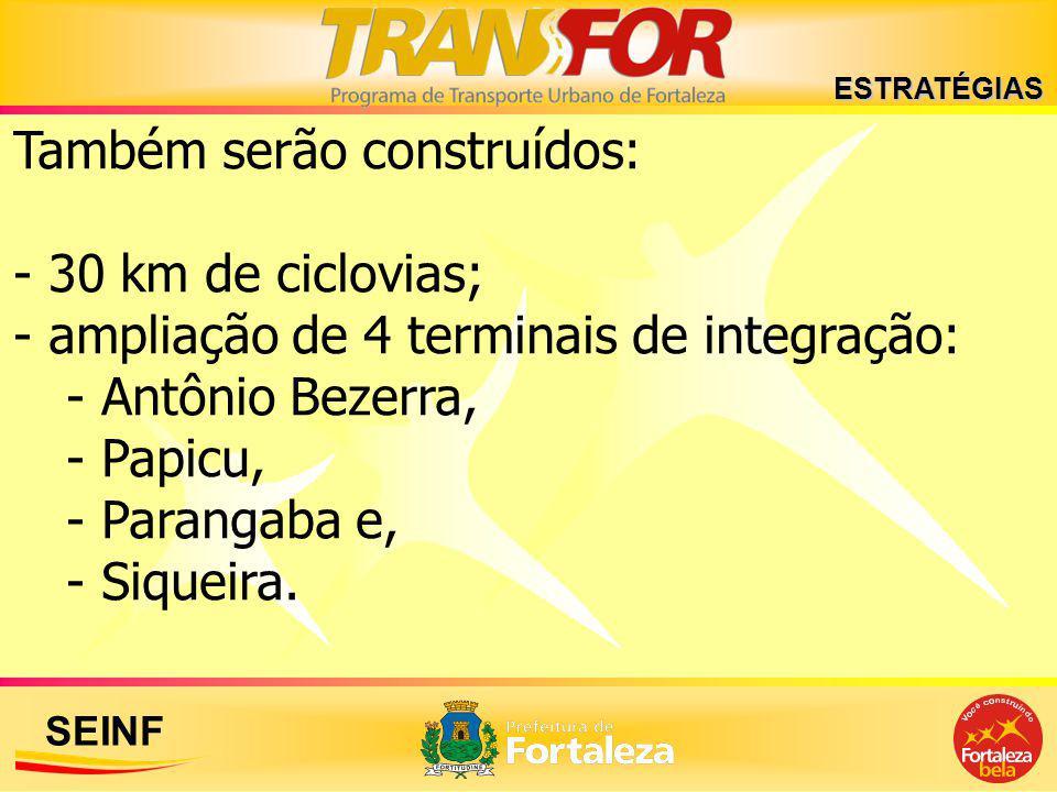 SEINF Também serão construídos: - 30 km de ciclovias; - ampliação de 4 terminais de integração: - Antônio Bezerra, - Papicu, - Parangaba e, - Siqueira