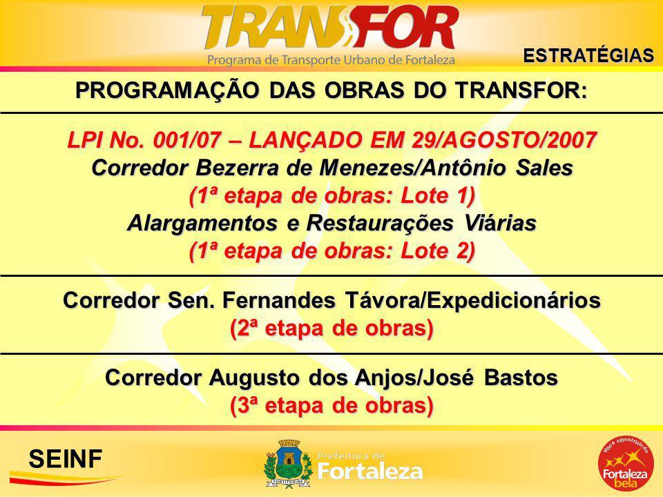 SEINF PROGRAMAÇÃO DAS OBRAS DO TRANSFOR: LPI No. 001/07 – LANÇADO EM 29/AGOSTO/2007 Corredor Bezerra de Menezes/Antônio Sales (1ª etapa de obras: Lote