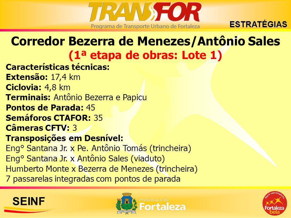 SEINF Corredor Bezerra de Menezes/Antônio Sales (1ª etapa de obras: Lote 1) Características técnicas: Extensão: 17,4 km Ciclovia: 4,8 km Terminais: An