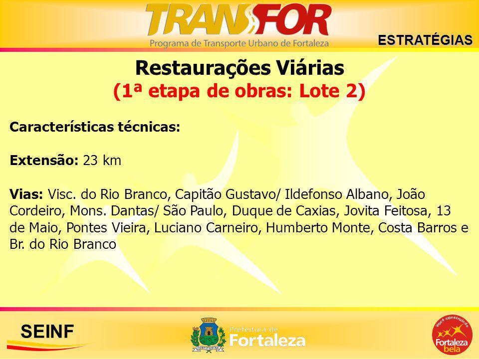 SEINF Restaurações Viárias (1ª etapa de obras: Lote 2) Características técnicas: Extensão: 23 km Vias: Visc. do Rio Branco, Capitão Gustavo/ Ildefonso