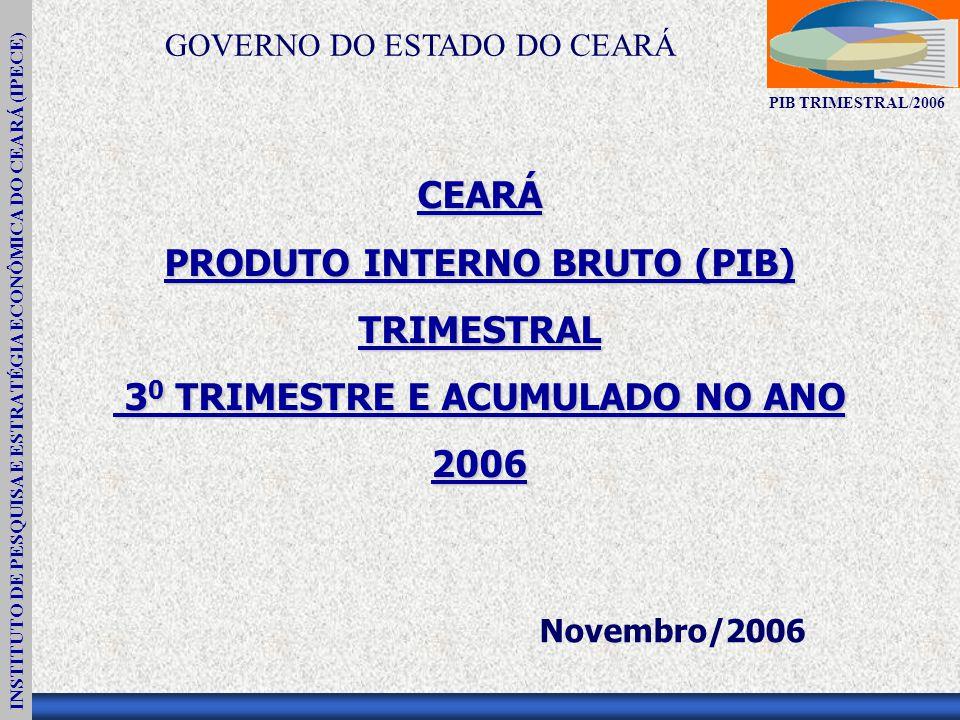 INSTITUTO DE PESQUISA E ESTRATÉGIA ECONÔMICA DO CEARÁ (IPECE) PIB TRIMESTRAL/2006 CEARÁ PRODUTO INTERNO BRUTO (PIB) TRIMESTRAL 3 0 TRIMESTRE E ACUMULADO NO ANO 3 0 TRIMESTRE E ACUMULADO NO ANO2006 Novembro/2006 GOVERNO DO ESTADO DO CEARÁ