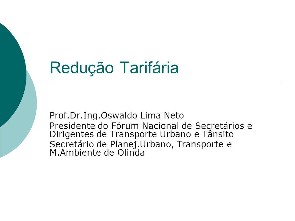 Redução Tarifária Prof.Dr.Ing.Oswaldo Lima Neto Presidente do Fórum Nacional de Secretários e Dirigentes de Transporte Urbano e Tânsito Secretário de