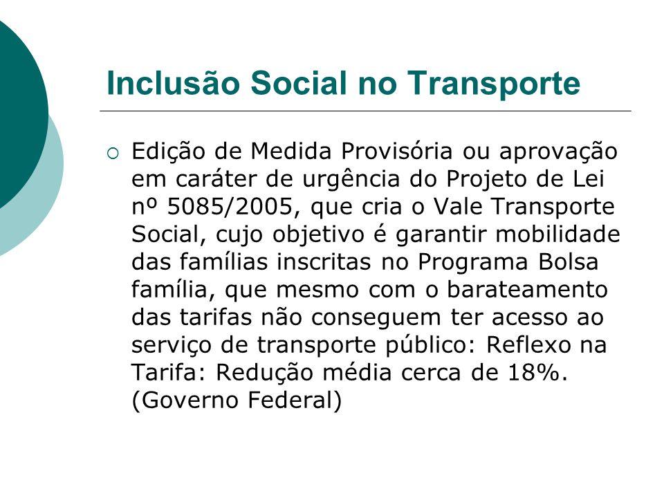 Inclusão Social no Transporte Edição de Medida Provisória ou aprovação em caráter de urgência do Projeto de Lei nº 5085/2005, que cria o Vale Transpor