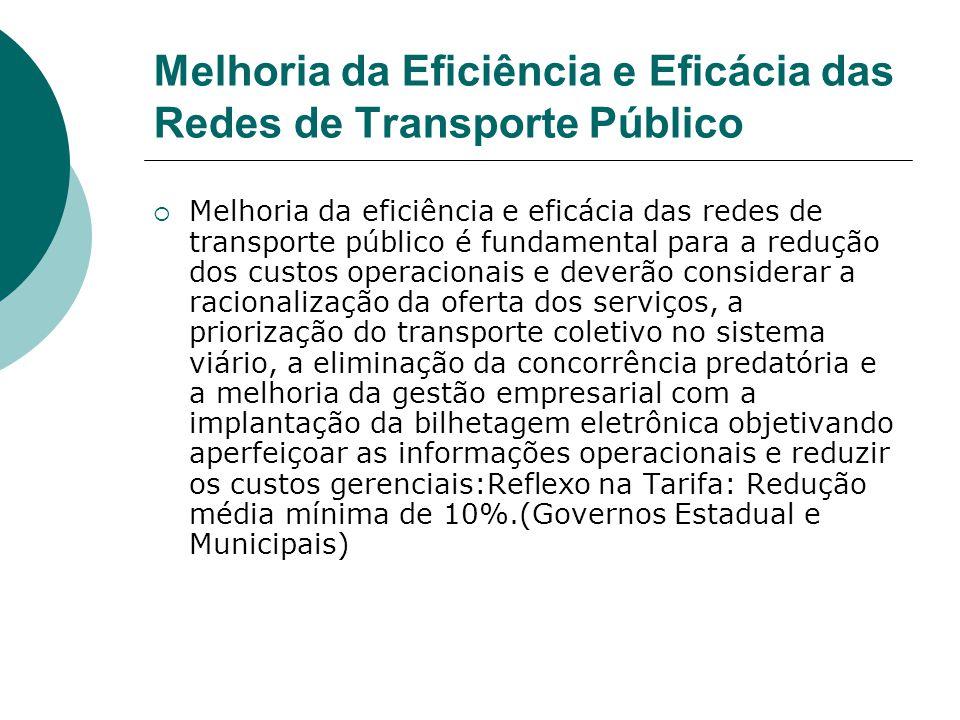 Melhoria da Eficiência e Eficácia das Redes de Transporte Público Melhoria da eficiência e eficácia das redes de transporte público é fundamental para