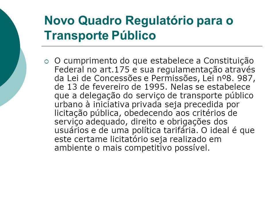 Novo Quadro Regulatório para o Transporte Público O cumprimento do que estabelece a Constituição Federal no art.175 e sua regulamentação através da Le