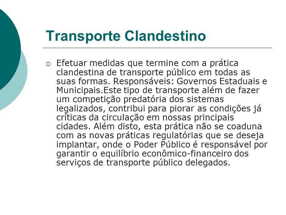 Transporte Clandestino Efetuar medidas que termine com a prática clandestina de transporte público em todas as suas formas. Responsáveis: Governos Est