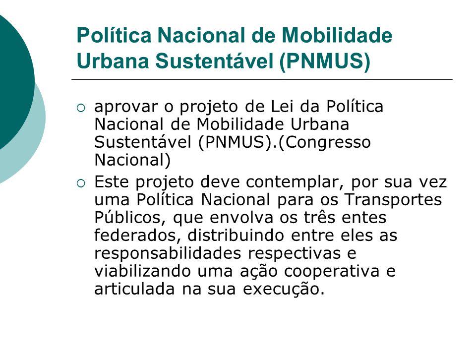 Política Nacional de Mobilidade Urbana Sustentável (PNMUS) aprovar o projeto de Lei da Política Nacional de Mobilidade Urbana Sustentável (PNMUS).(Con