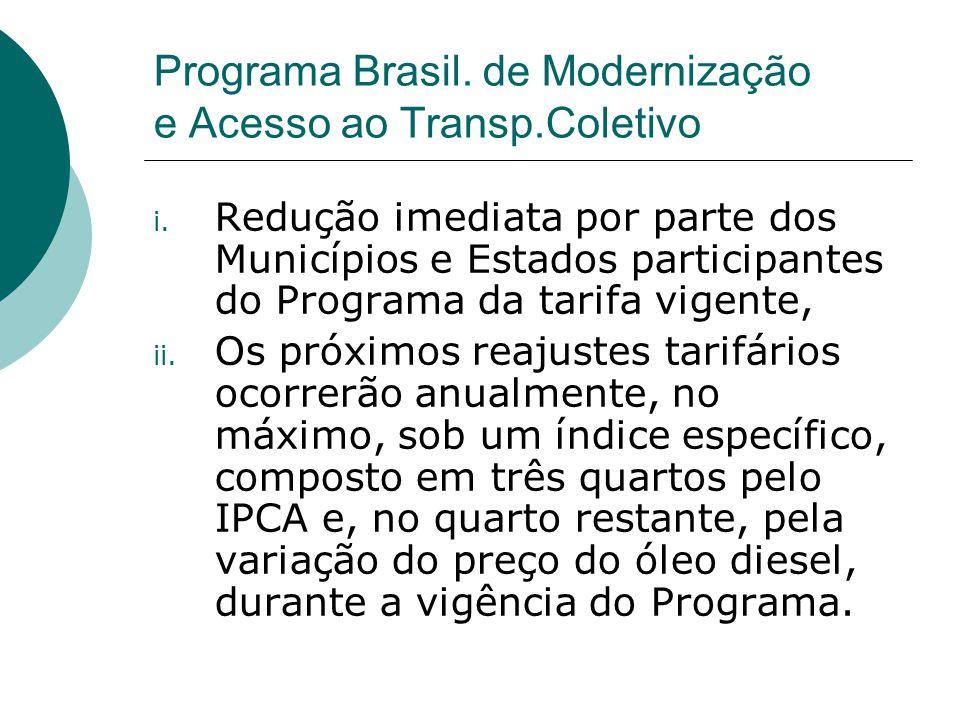 Programa Brasil. de Modernização e Acesso ao Transp.Coletivo i. Redução imediata por parte dos Municípios e Estados participantes do Programa da tarif