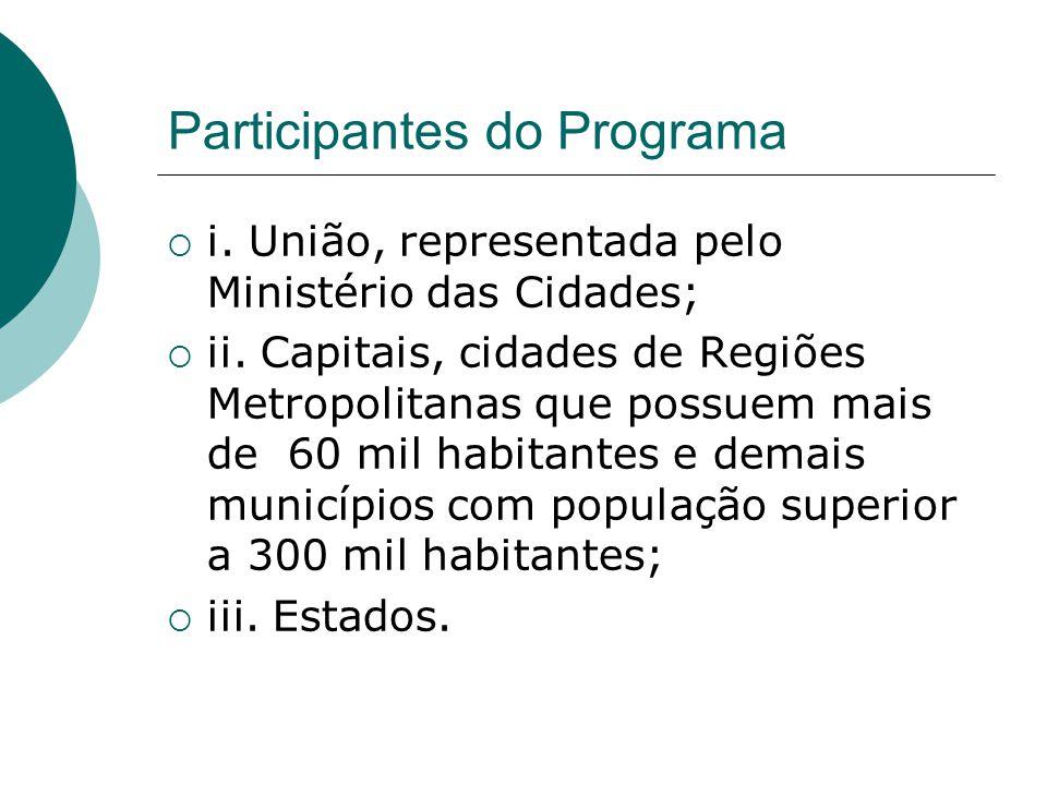Participantes do Programa i. União, representada pelo Ministério das Cidades; ii. Capitais, cidades de Regiões Metropolitanas que possuem mais de 60 m