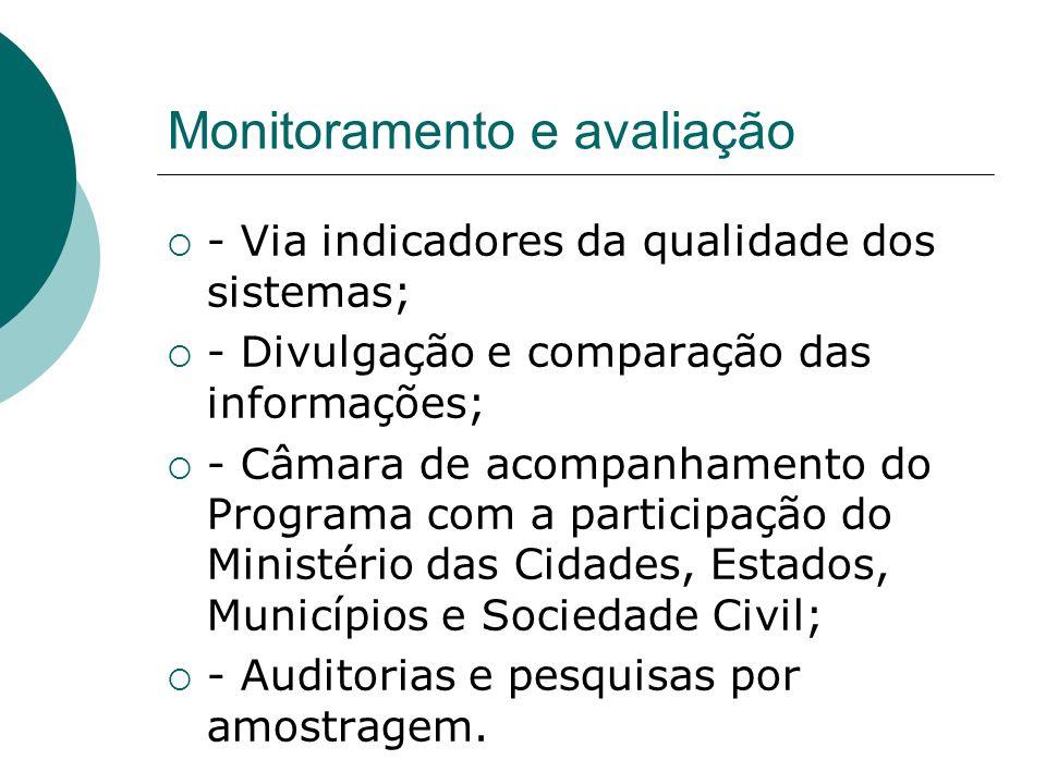 Monitoramento e avaliação - Via indicadores da qualidade dos sistemas; - Divulgação e comparação das informações; - Câmara de acompanhamento do Progra