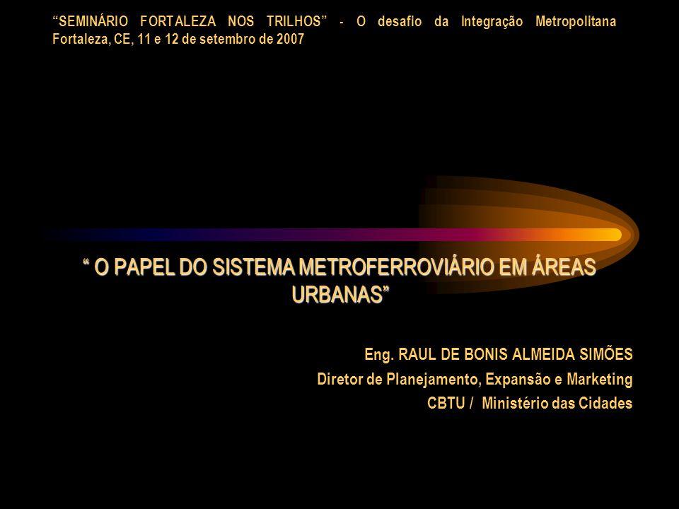 SEMINÁRIO FORTALEZA NOS TRILHOS - O desafio da Integração Metropolitana Fortaleza, CE, 11 e 12 de setembro de 2007 O PAPEL DO SISTEMA METROFERROVIÁRIO