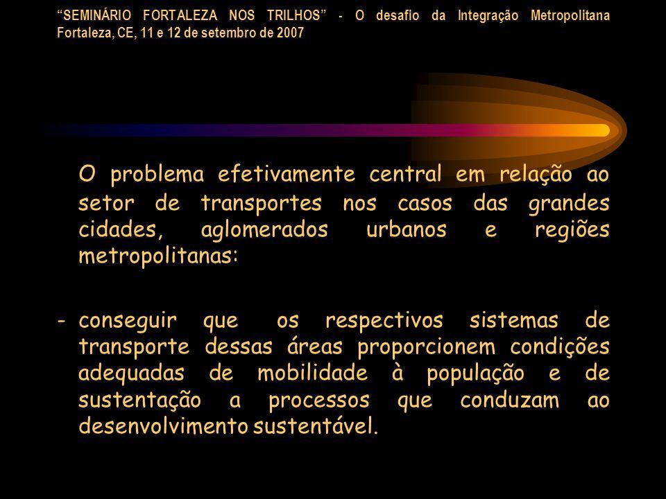 SEMINÁRIO FORTALEZA NOS TRILHOS - O desafio da Integração Metropolitana Fortaleza, CE, 11 e 12 de setembro de 2007 O problema efetivamente central em