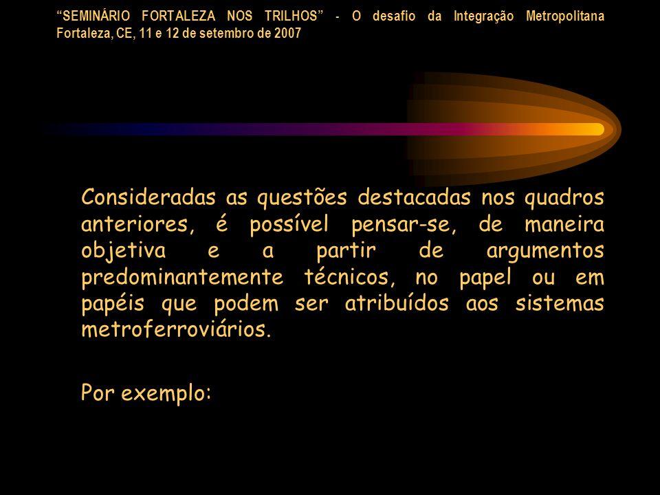 SEMINÁRIO FORTALEZA NOS TRILHOS - O desafio da Integração Metropolitana Fortaleza, CE, 11 e 12 de setembro de 2007 Consideradas as questões destacadas