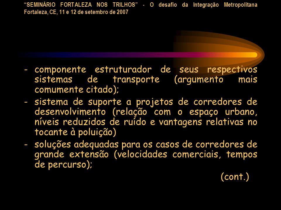 SEMINÁRIO FORTALEZA NOS TRILHOS - O desafio da Integração Metropolitana Fortaleza, CE, 11 e 12 de setembro de 2007 -componente estruturador de seus re