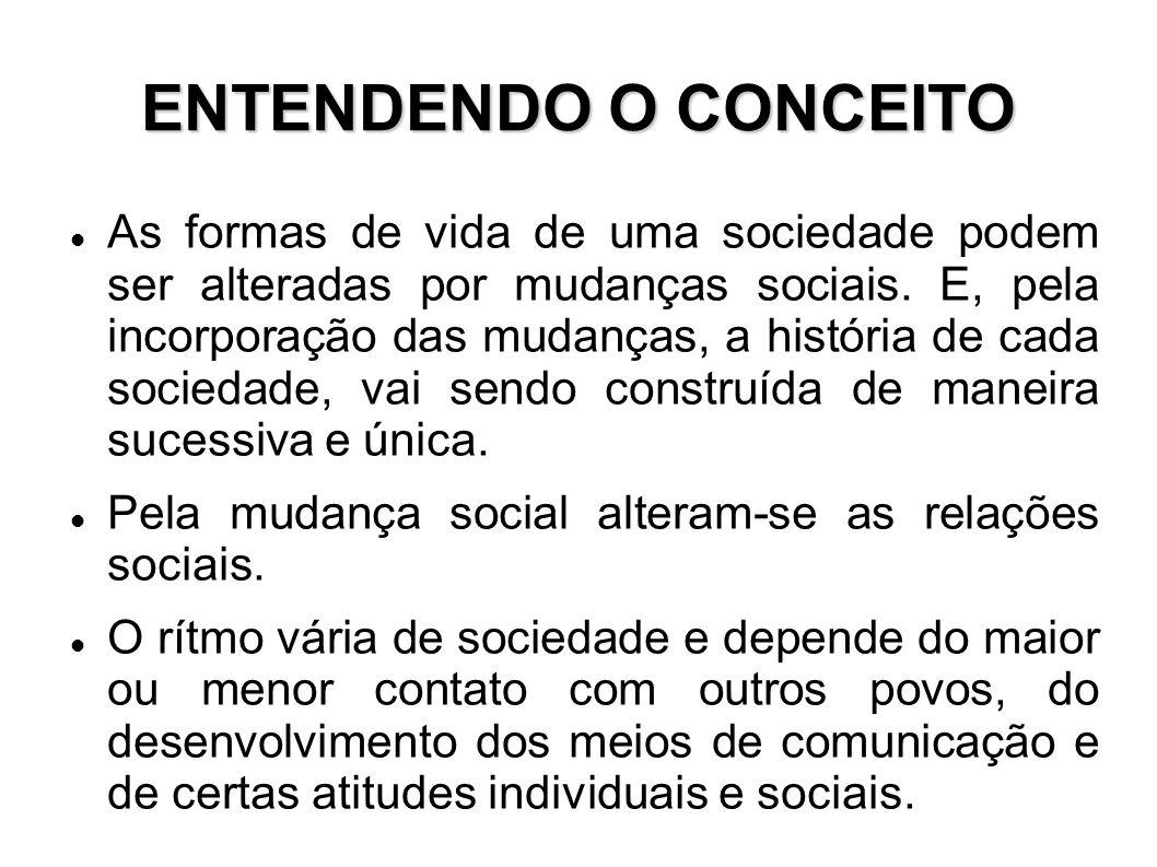 ENTENDENDO O CONCEITO As formas de vida de uma sociedade podem ser alteradas por mudanças sociais. E, pela incorporação das mudanças, a história de ca