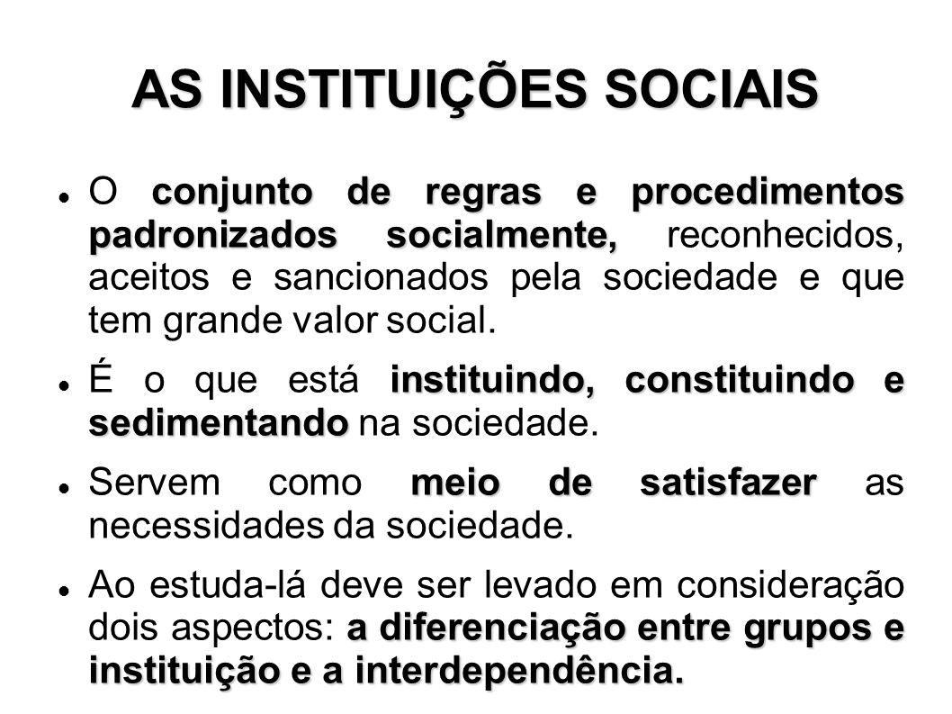 conjunto de regras e procedimentos padronizados socialmente, O conjunto de regras e procedimentos padronizados socialmente, reconhecidos, aceitos e sa