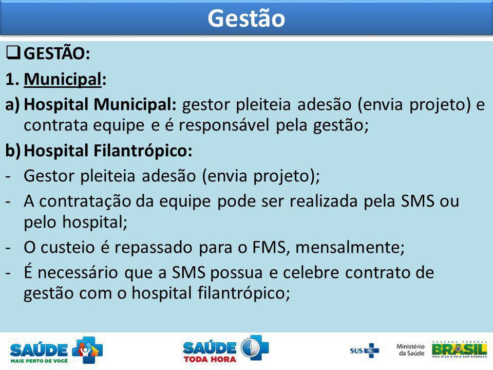 GESTÃO: 1.Municipal: a)Hospital Municipal: gestor pleiteia adesão (envia projeto) e contrata equipe e é responsável pela gestão; b)Hospital Filantrópi