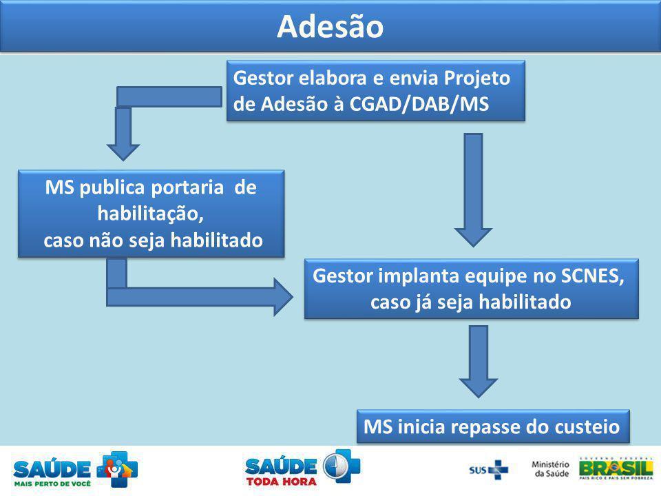 Adesão Gestor elabora e envia Projeto de Adesão à CGAD/DAB/MS Gestor elabora e envia Projeto de Adesão à CGAD/DAB/MS MS publica portaria de habilitaçã