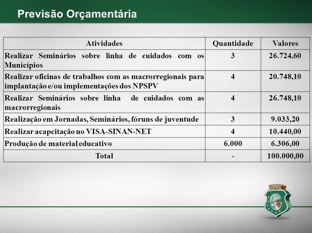 Previsão Orçamentária AtividadesQuantidadeValores Realizar Seminários sobre linha de cuidados com os Municípios 326.724,60 Realizar oficinas de trabal