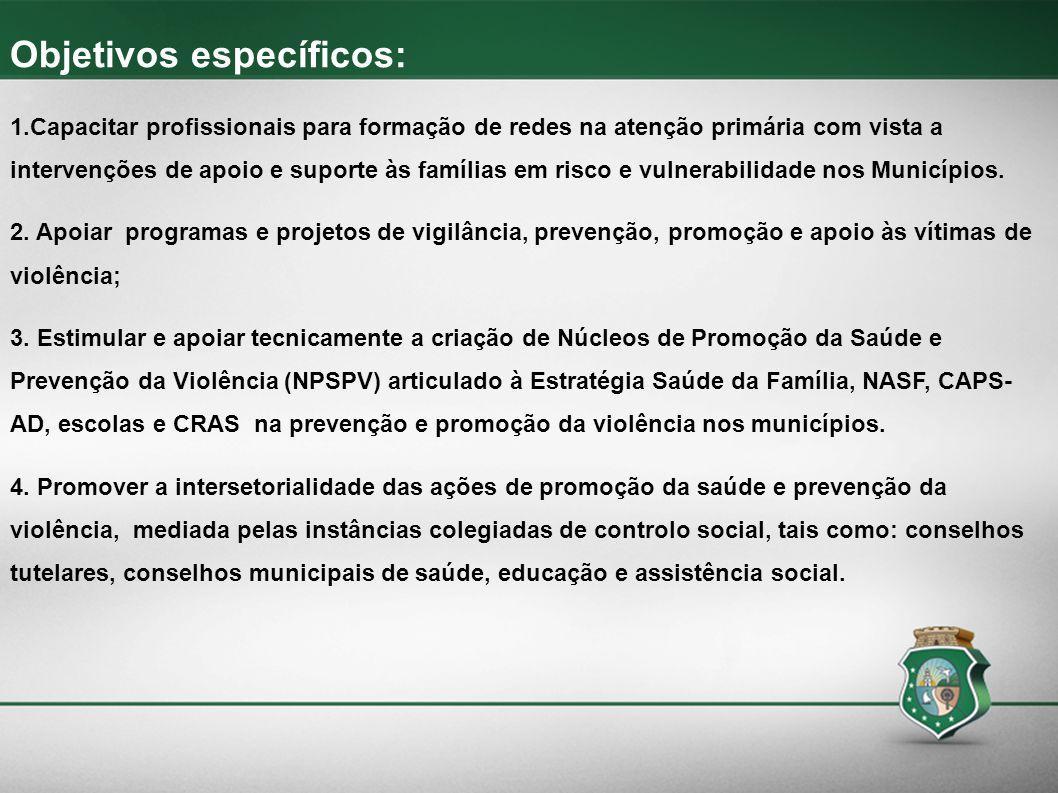 Objetivos específicos: 1.Capacitar profissionais para formação de redes na atenção primária com vista a intervenções de apoio e suporte às famílias em