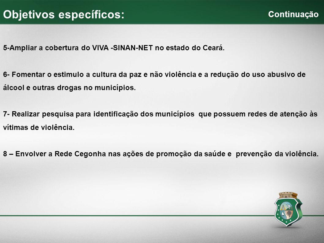 5-Ampliar a cobertura do VIVA -SINAN-NET no estado do Ceará. 6- Fomentar o estimulo a cultura da paz e não violência e a redução do uso abusivo de álc