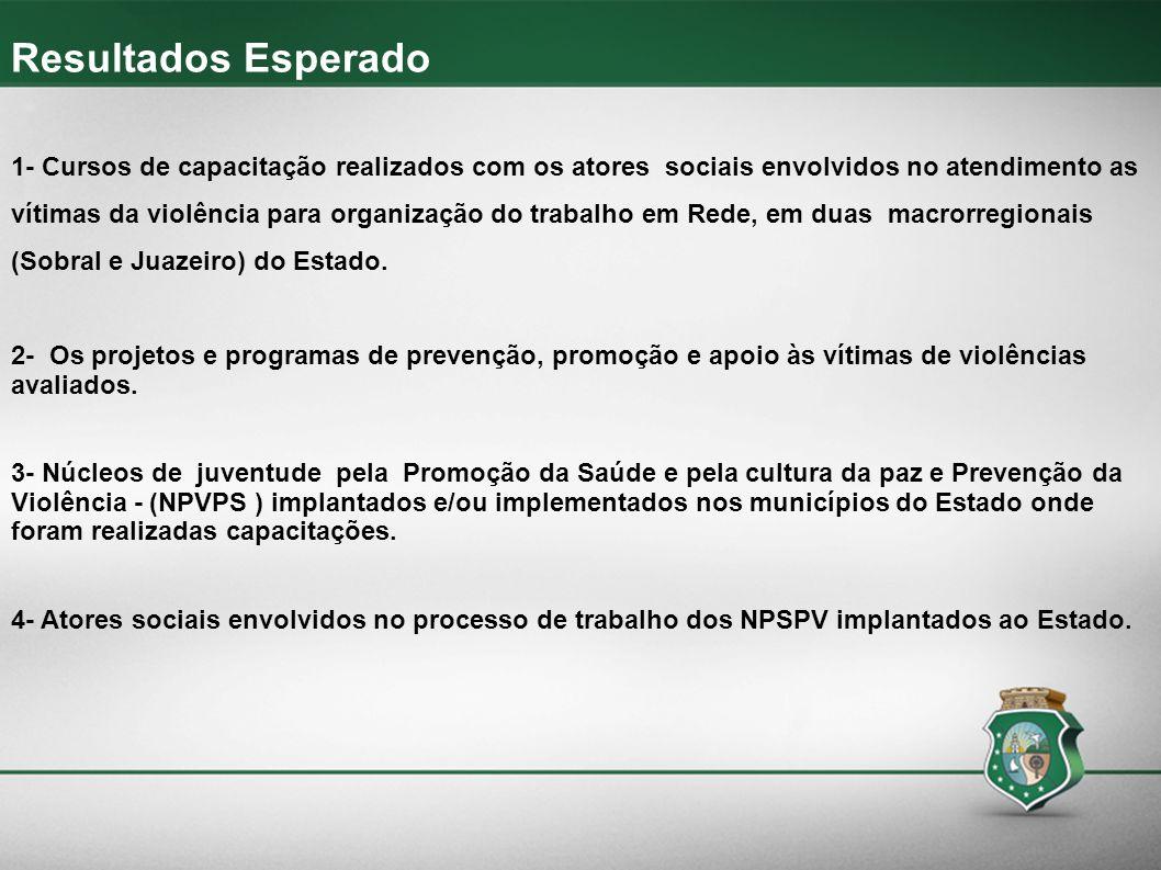 Resultados Esperado 1- Cursos de capacitação realizados com os atores sociais envolvidos no atendimento as vítimas da violência para organização do tr