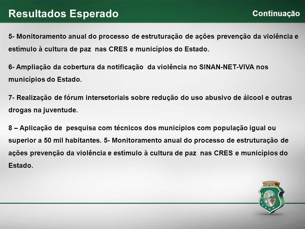 5- Monitoramento anual do processo de estruturação de ações prevenção da violência e estímulo à cultura de paz nas CRES e municípios do Estado. 6- Amp