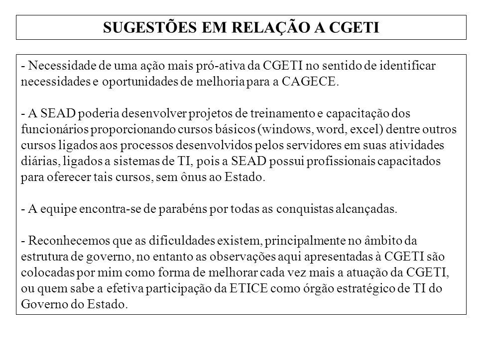 SUGESTÕES EM RELAÇÃO A CGETI - Necessidade de uma ação mais pró-ativa da CGETI no sentido de identificar necessidades e oportunidades de melhoria para