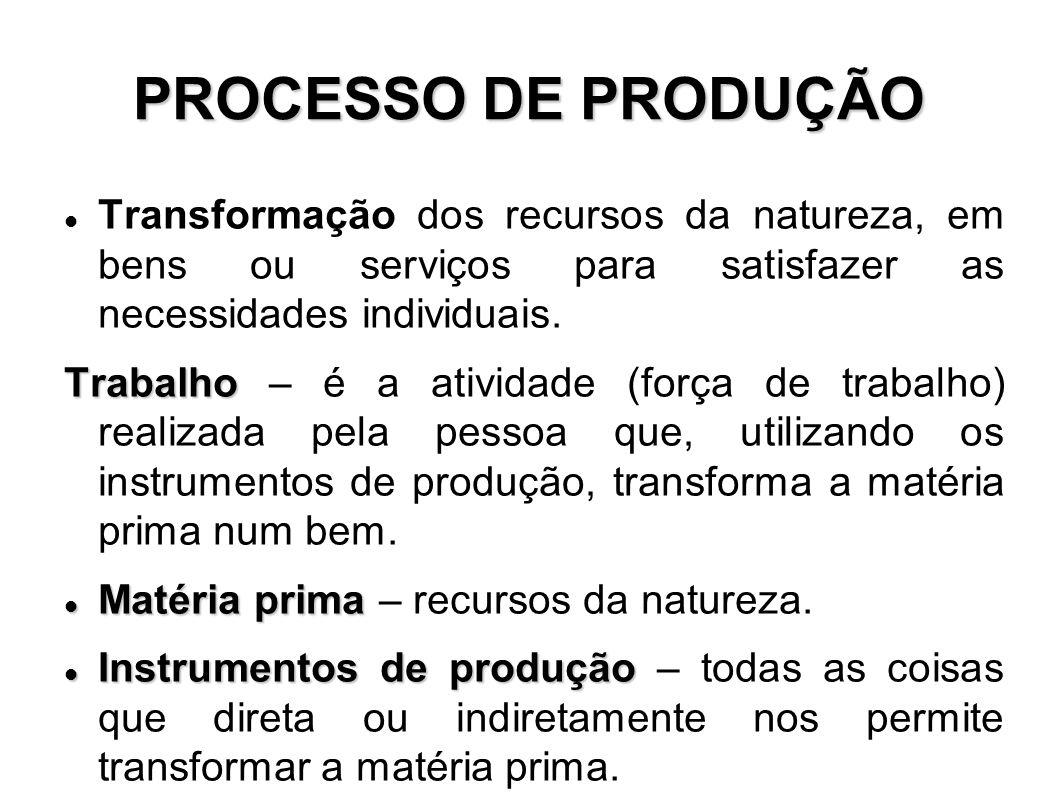 PROCESSO DE PRODUÇÃO Transformação dos recursos da natureza, em bens ou serviços para satisfazer as necessidades individuais.