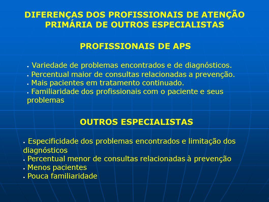 DIFERENÇAS DOS PROFISSIONAIS DE ATENÇÃO PRIMÁRIA DE OUTROS ESPECIALISTAS PROFISSIONAIS DE APS Variedade de problemas encontrados e de diagnósticos. Pe