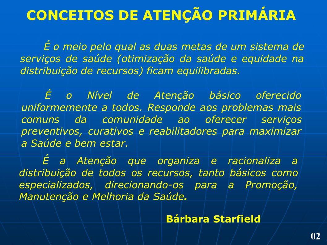 CONCEITOS DE ATENÇÃO PRIMÁRIA É o meio pelo qual as duas metas de um sistema de serviços de saúde (otimização da saúde e equidade na distribuição de r