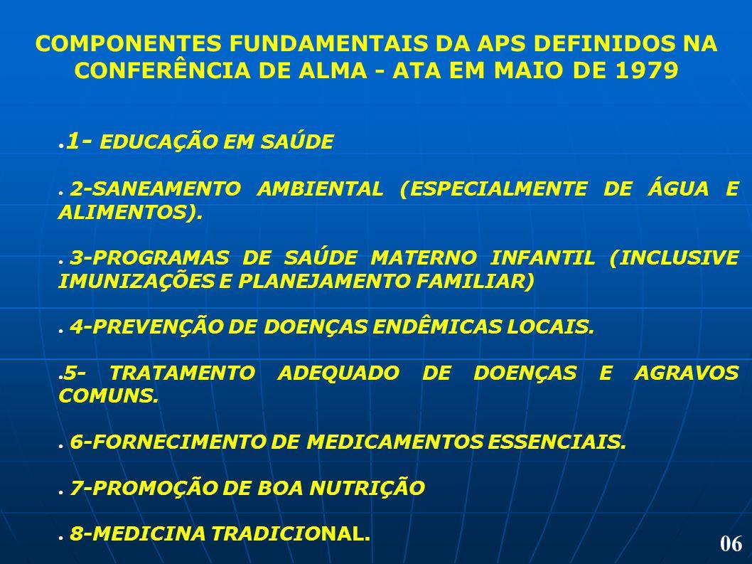 COMPONENTES FUNDAMENTAIS DA APS DEFINIDOS NA CONFERÊNCIA DE ALMA - ATA EM MAIO DE 1979 1- EDUCAÇÃO EM SAÚDE 2-SANEAMENTO AMBIENTAL (ESPECIALMENTE DE Á