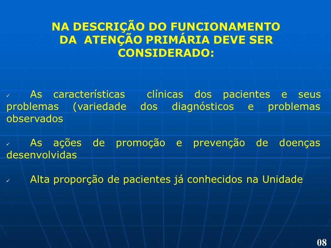 NA DESCRIÇÃO DO FUNCIONAMENTO DA ATENÇÃO PRIMÁRIA DEVE SER CONSIDERADO: As características clínicas dos pacientes e seus problemas (variedade dos diag