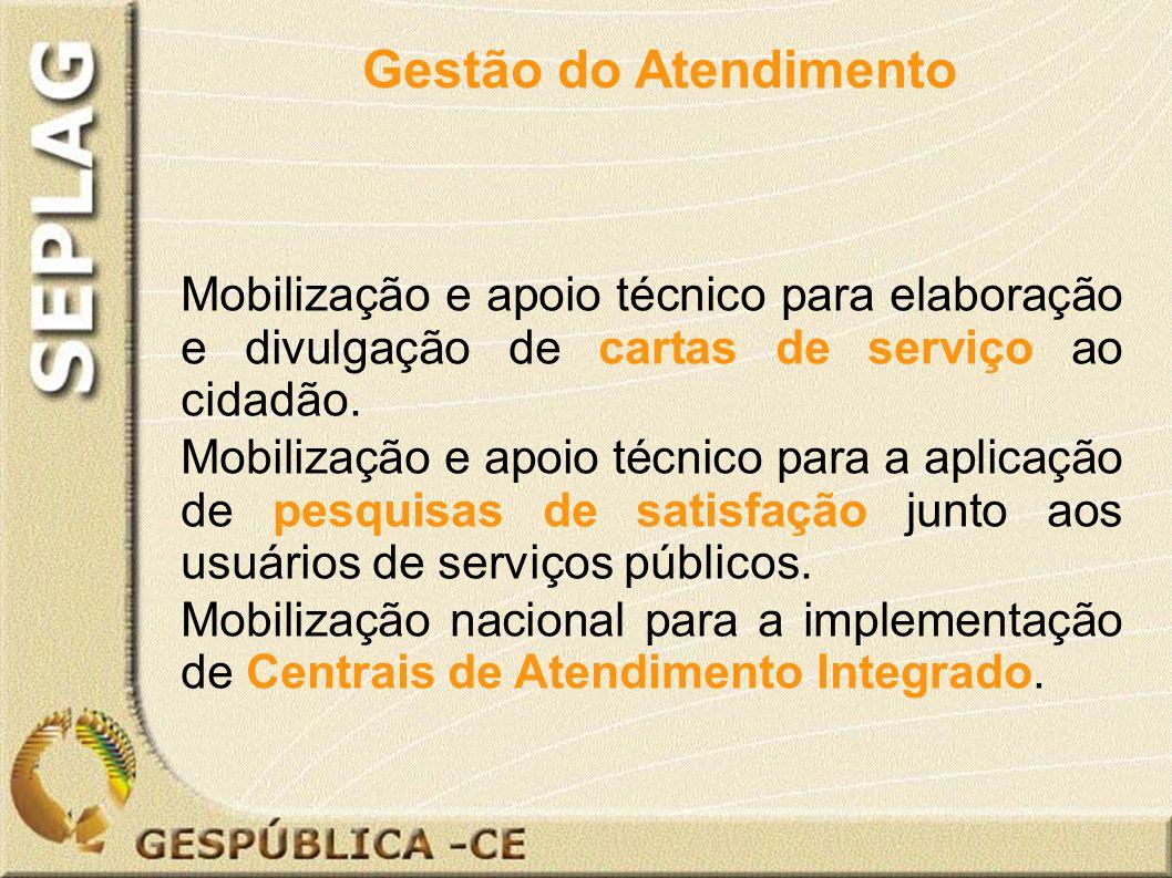 Mobilização e apoio técnico para elaboração e divulgação de cartas de serviço ao cidadão.