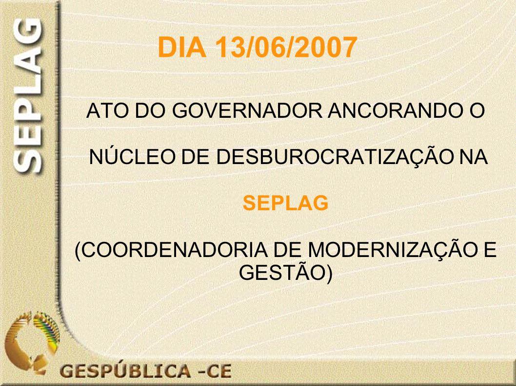 DIA 13/06/2007 ATO DO GOVERNADOR ANCORANDO O NÚCLEO DE DESBUROCRATIZAÇÃO NA SEPLAG (COORDENADORIA DE MODERNIZAÇÃO E GESTÃO)