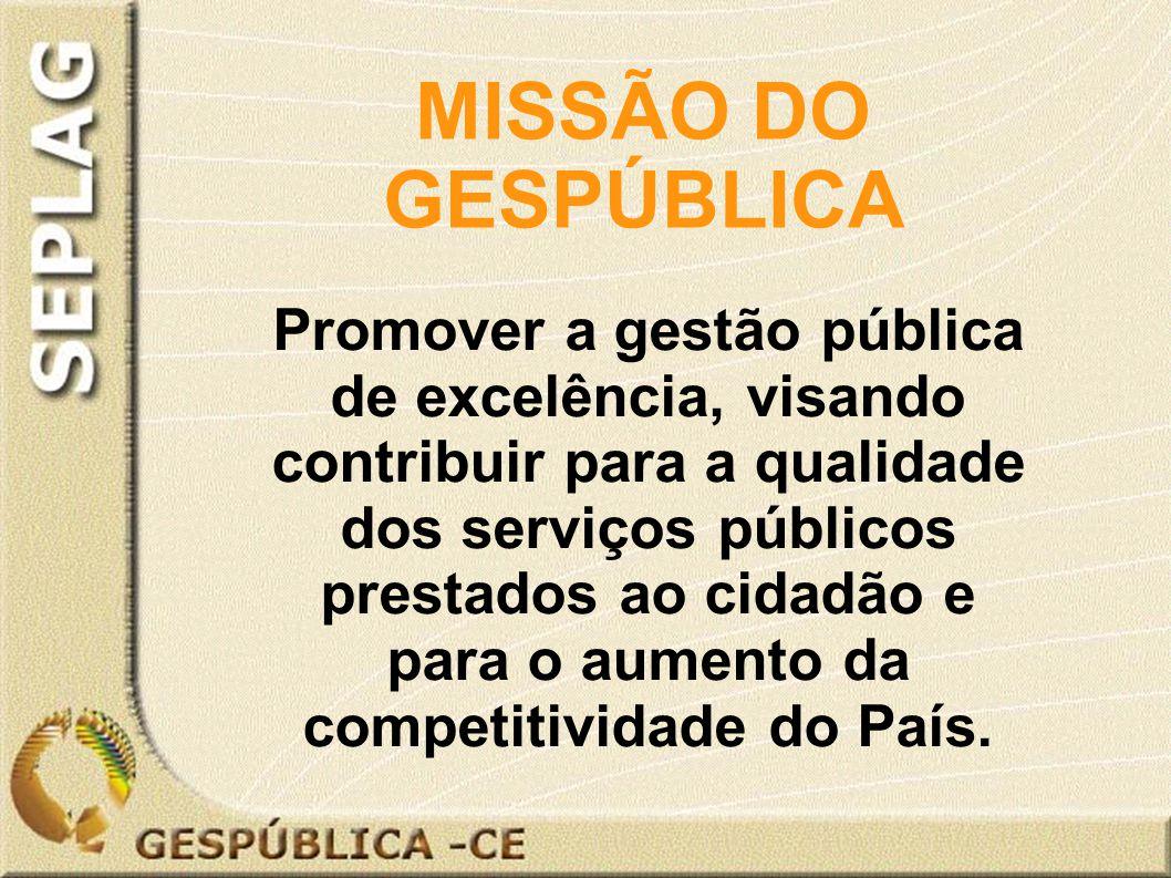 Promover a gestão pública de excelência, visando contribuir para a qualidade dos serviços públicos prestados ao cidadão e para o aumento da competitividade do País.