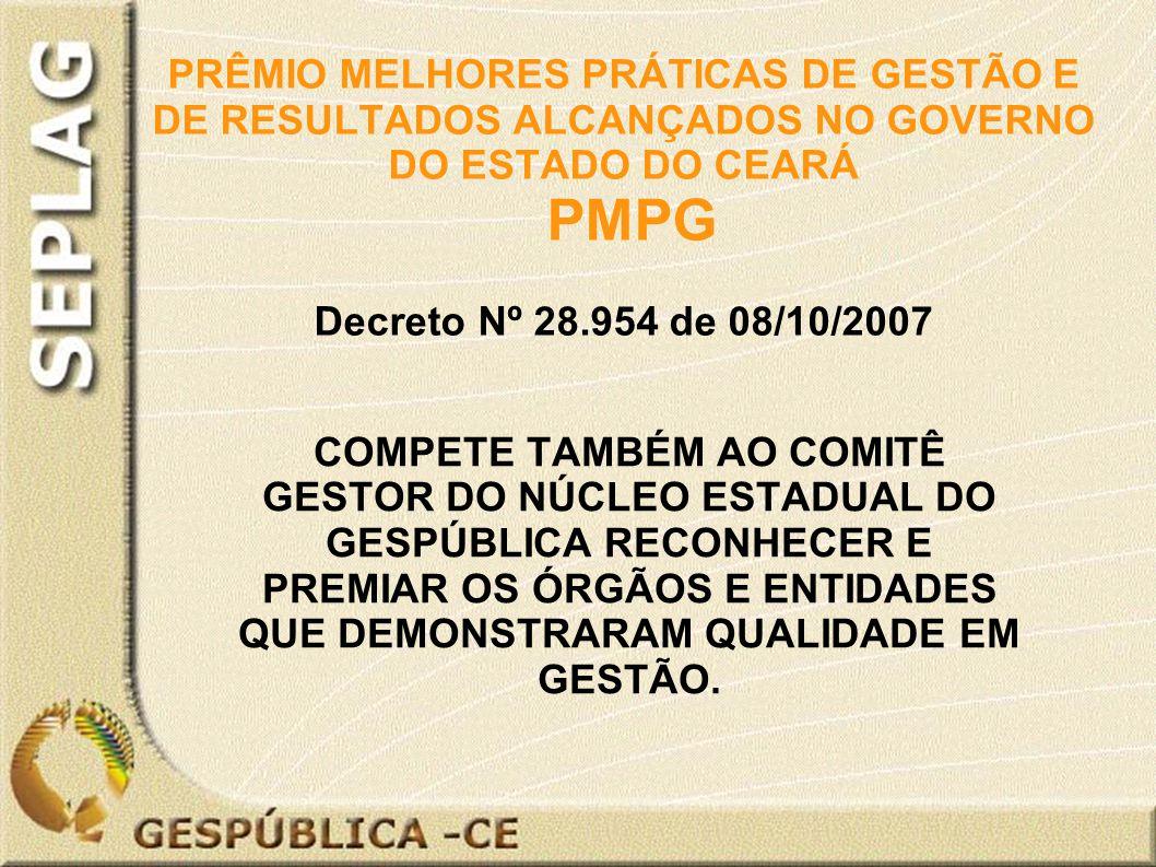 PRÊMIO MELHORES PRÁTICAS DE GESTÃO E DE RESULTADOS ALCANÇADOS NO GOVERNO DO ESTADO DO CEARÁ PMPG Decreto Nº 28.954 de 08/10/2007 COMPETE TAMBÉM AO COMITÊ GESTOR DO NÚCLEO ESTADUAL DO GESPÚBLICA RECONHECER E PREMIAR OS ÓRGÃOS E ENTIDADES QUE DEMONSTRARAM QUALIDADE EM GESTÃO.