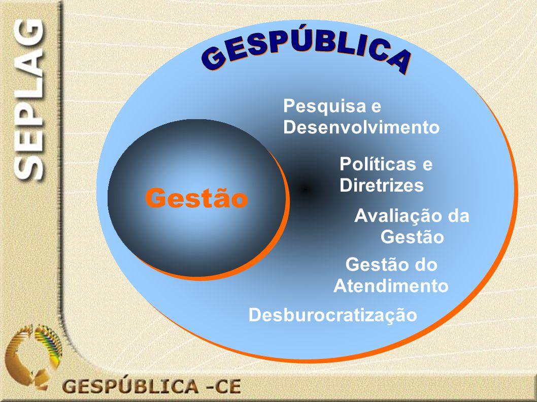 Desburocratização Gestão Pesquisa e Desenvolvimento Avaliação da Gestão Gestão do Atendimento Políticas e Diretrizes
