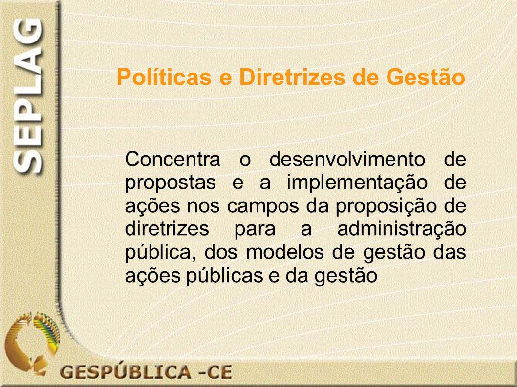 Concentra o desenvolvimento de propostas e a implementação de ações nos campos da proposição de diretrizes para a administração pública, dos modelos de gestão das ações públicas e da gestão Políticas e Diretrizes de Gestão