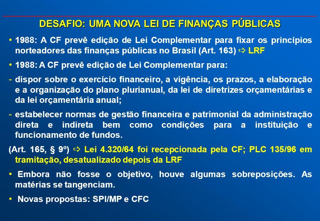 DESAFIO: UMA NOVA LEI DE FINANÇAS PÚBLICAS 1988: A CF prevê edição de Lei Complementar para fixar os princípios norteadores das finanças públicas no B