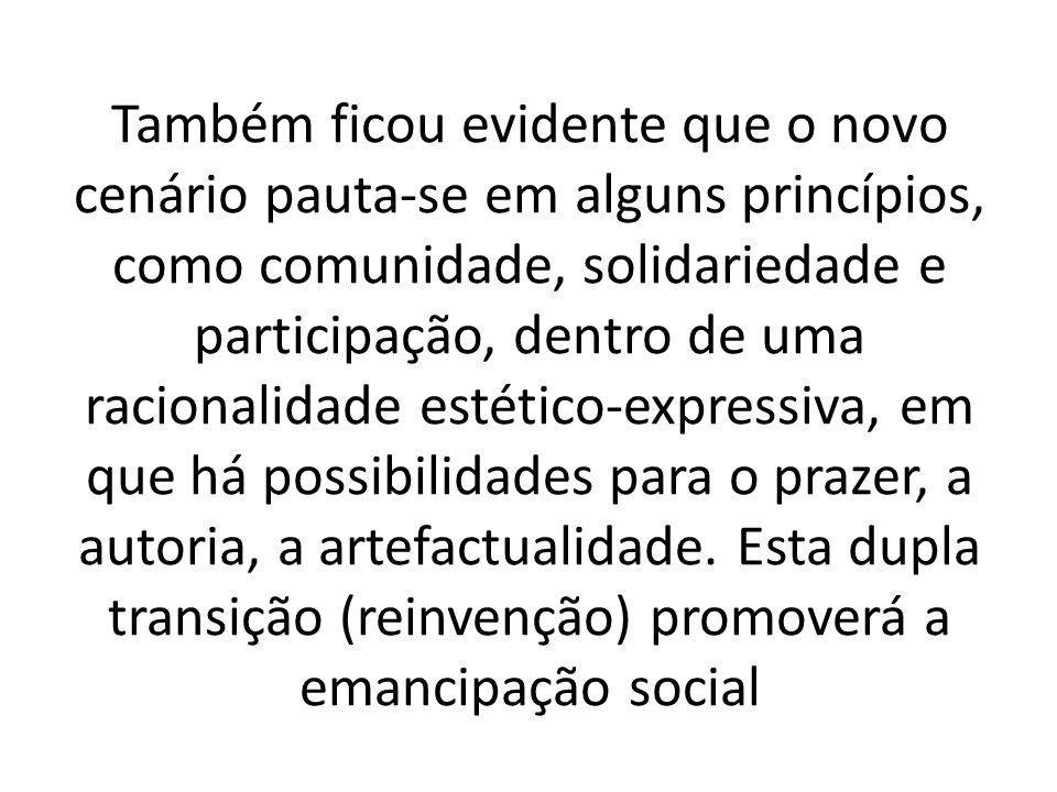 Também ficou evidente que o novo cenário pauta-se em alguns princípios, como comunidade, solidariedade e participação, dentro de uma racionalidade est