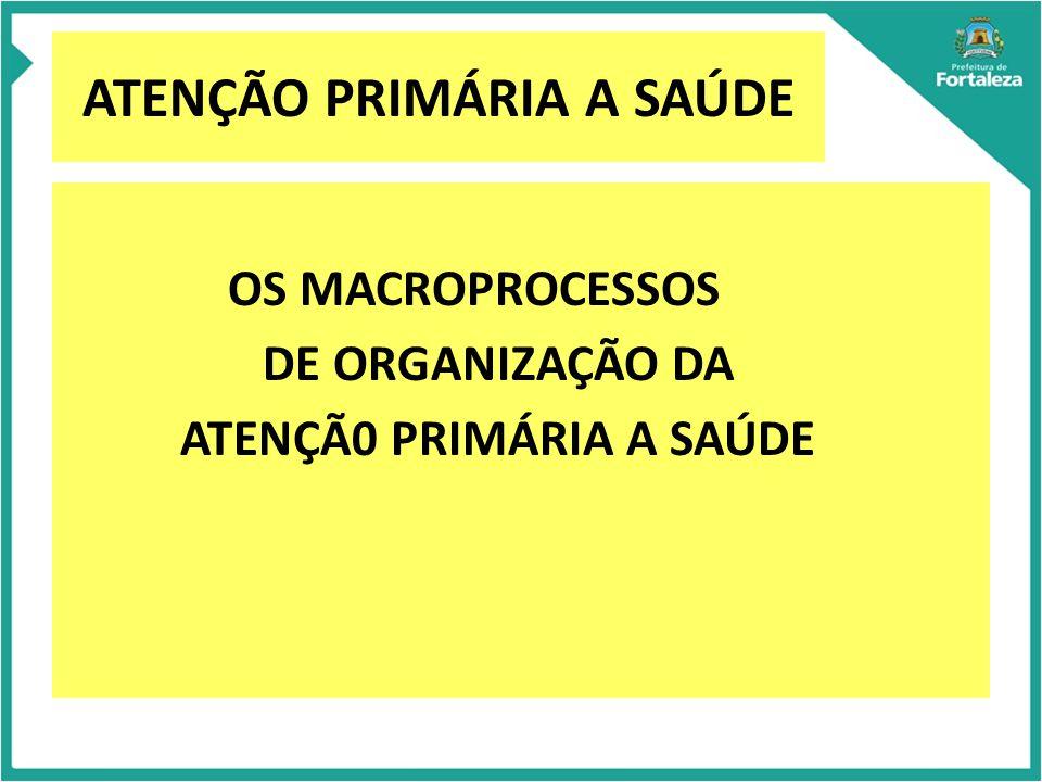 ATENÇÃO PRIMÁRIA A SAÚDE OS MACROPROCESSOS DE ORGANIZAÇÃO DA ATENÇÃ0 PRIMÁRIA A SAÚDE