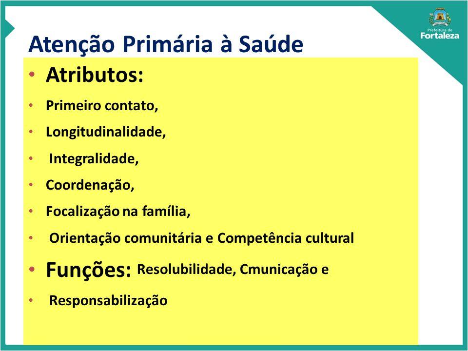 Atenção Primária à Saúde Atributos: Primeiro contato, Longitudinalidade, Integralidade, Coordenação, Focalização na família, Orientação comunitária e Competência cultural Funções: Resolubilidade, Cmunicação e Responsabilização