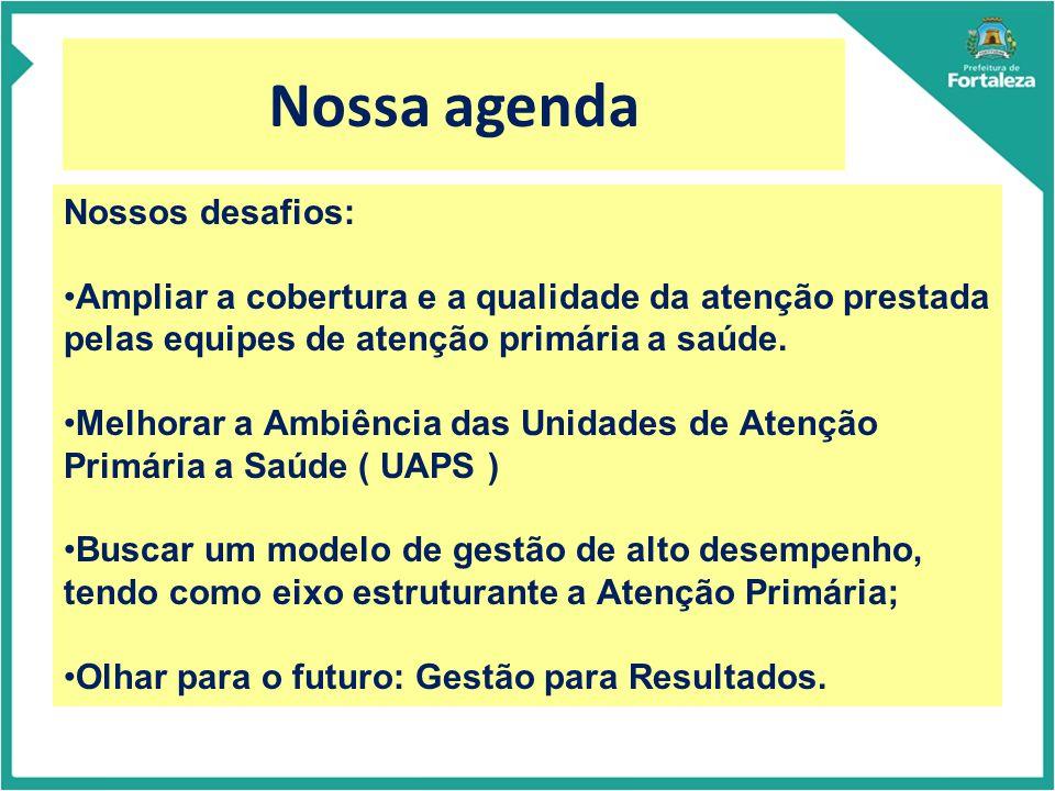 Nossa agenda Nossos desafios: Ampliar a cobertura e a qualidade da atenção prestada pelas equipes de atenção primária a saúde.