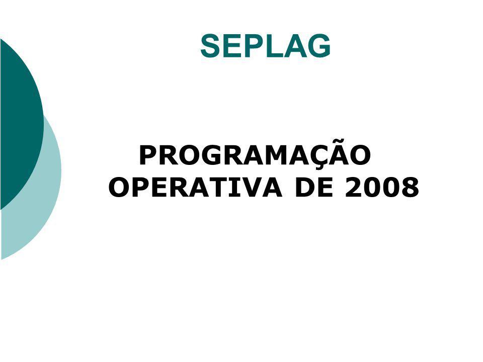 PROGRAMAÇÃO OPERATIVA A Programação Operativa de 2008 constará de três grandes grupos de projetos : o Custeio de Manutenção o Custeio Finalístico o Projetos do MAPP