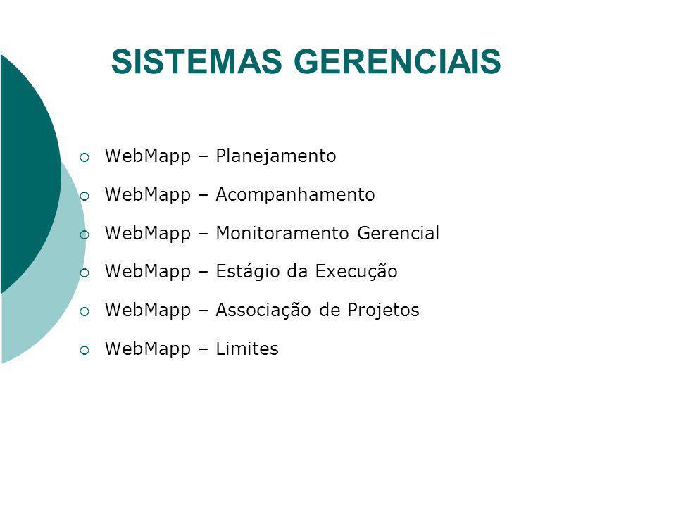 SISTEMAS GERENCIAIS WebMapp – Planejamento WebMapp – Acompanhamento WebMapp – Monitoramento Gerencial WebMapp – Estágio da Execução WebMapp – Associaç