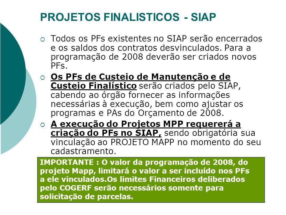 PROJETOS FINALISTICOS - SIAP Todos os PFs existentes no SIAP serão encerrados e os saldos dos contratos desvinculados. Para a programação de 2008 deve