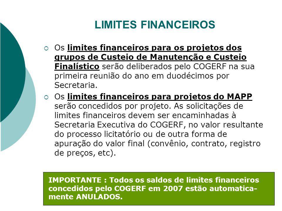 LIMITES FINANCEIROS Os limites financeiros para os projetos dos grupos de Custeio de Manutenção e Custeio Finalístico serão deliberados pelo COGERF na