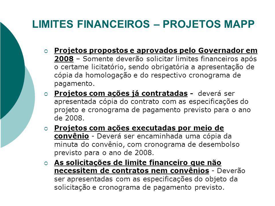 CRONOGRAMA DE LIMITES FINANCEIROS - PROJETOS MAPP Os limites financeiros dos projetos do MAPP serão agregados em um cronograma geral, por secretaria.