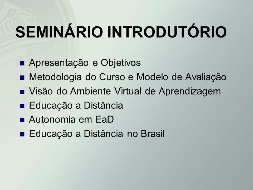 SEMINÁRIO INTRODUTÓRIO Apresentação e Objetivos Metodologia do Curso e Modelo de Avaliação Visão do Ambiente Virtual de Aprendizagem Educação a Distân